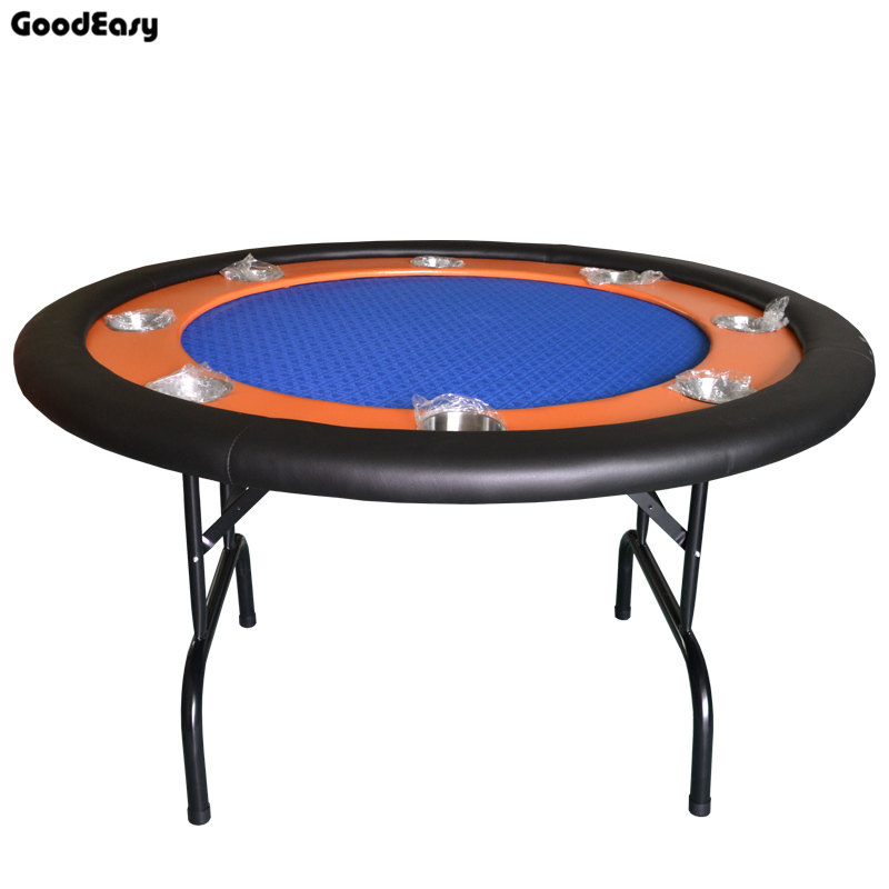 -132*132*76cm 4colors Red/Blue/Green/Black Casino Foldable Poker Table Texas Hold'em Baccarat Round Tbale with 8 players 600 1000pcs lot new casino texas hold em abs poker chips with star trim sticker baccarat poker chip sets with acrylic box