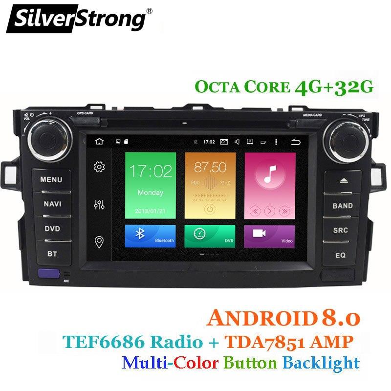 SilverStrong 4g RAM Android8.0 OctaCore Lecteur DVD de Voiture Pour Toyota Auris Hayon De Voiture 2din raido gps Navigation magnétophone