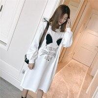 Primavera Coreano Oversize Impressão Kawaii Mulheres Encapuzados Vestido de Camisa Branca T 2018 Outono Moda Casual Solto Manga Comprida Hoodies Vestido