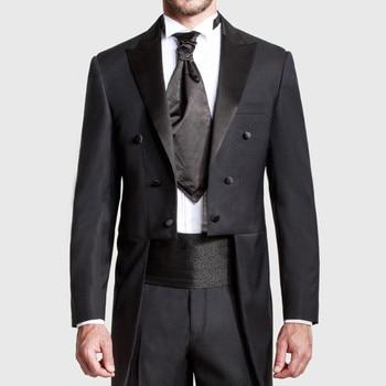 2018 Hecho A Medida Negro Boda Tailcoat Peaked Solapa Larga Cola Hombres Trajes De Boda Mejores Padrinos De Boda Esmoquin (chaqueta + Pantalón)