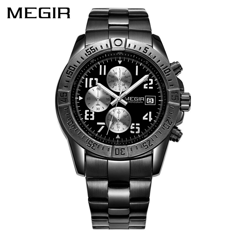 MEGIR Top Brand Luxury Men Quartz Watch Fashion Stainless Steel Strap Army Military Watches Big Dial Clock Men Relogio Masculino new fashion brand round dial black couple watch men luxury stainless steel casual quartz watches relogio masculino clock hot