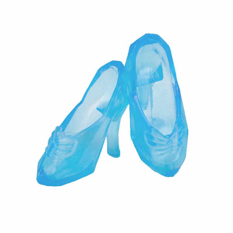 Sapatos de cristal de cinderela conto de fadas, para barbie bjd boneca, acessórios de roupas, play house vestido para crianças, brinquedos de natal