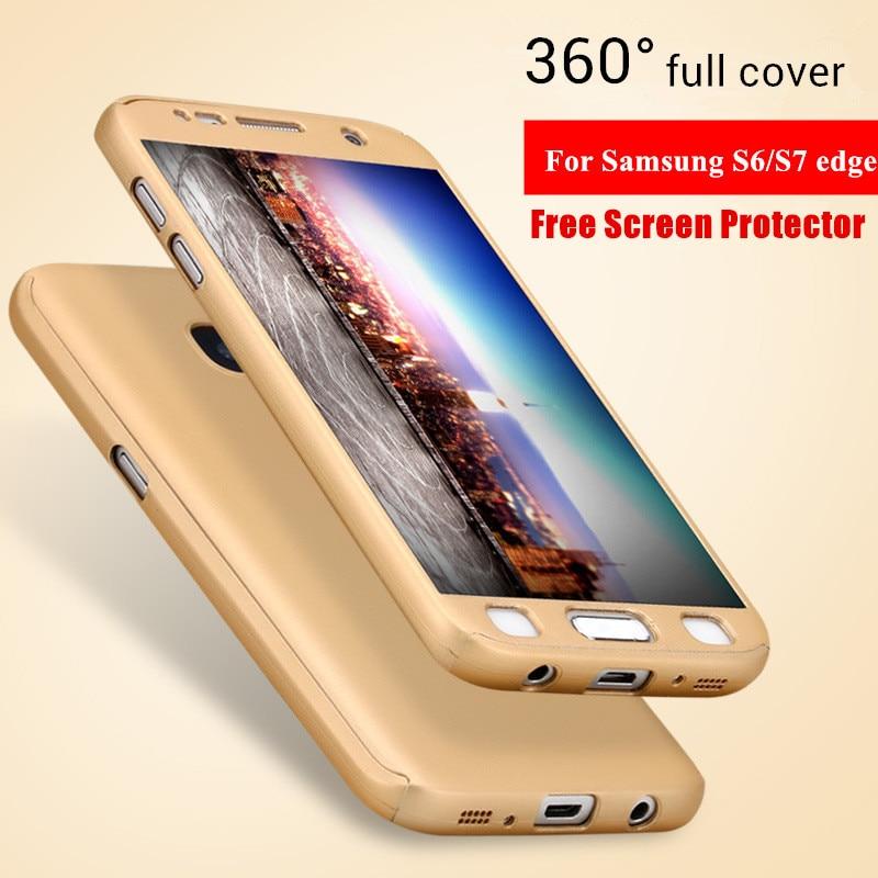 Luxusní pouzdra pro Samsung Galaxy S6 hrana S7 hrana 360 stupňů celotělová ochrana Matný PC telefon Pouzdro + Screen Protector Film