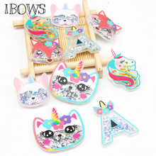 IBOWS 2pcs Acrylic Liquid Quicksand Pacthes Sequin Cute Unicorn for DIY Hair Bow Accessories Handmade Phone Case Decor Supplier