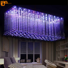 new design RGB LED crystal light modern dinning room crystal chandelier with remote control(China)