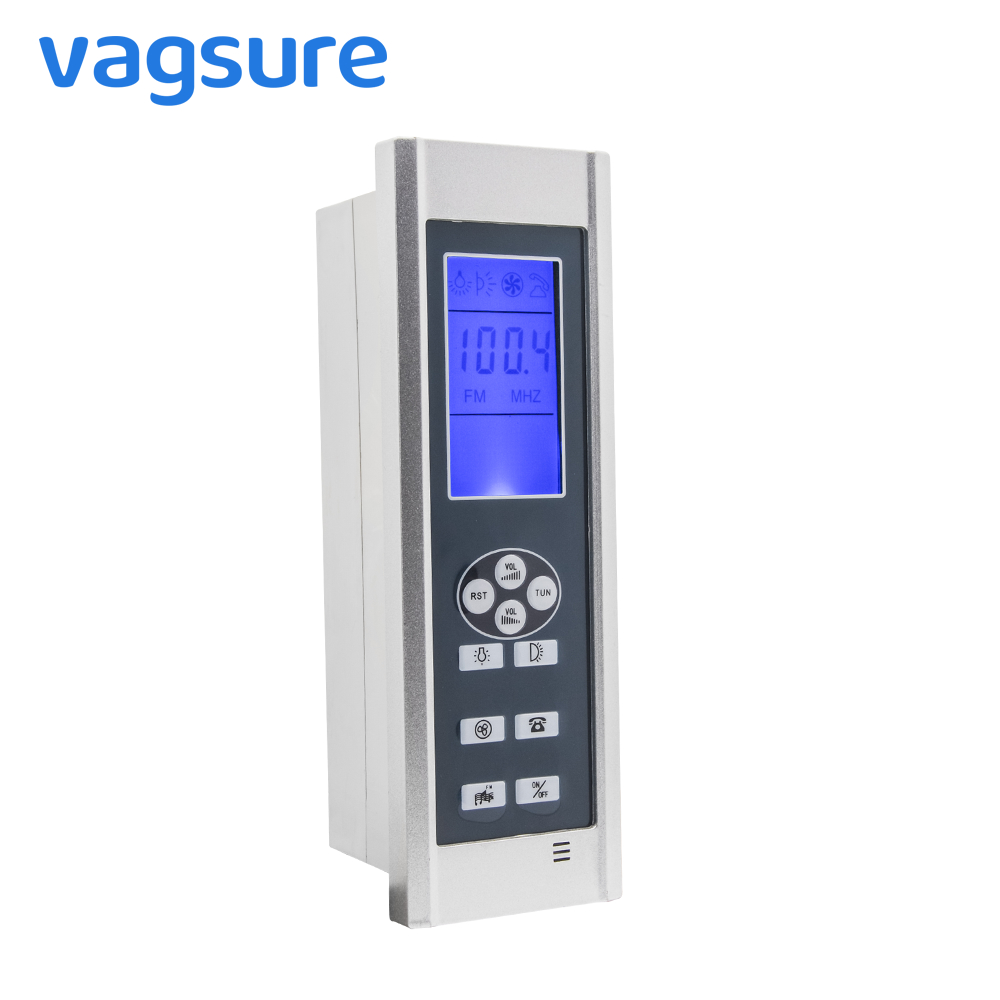 Controller AC 12V FM Radio Digital Control Panel LCD Display Screen For Shower Cabin Exhaust Fan Speaker Roof and Back Lighting black lcd display shower cabinet radio control set shower led light speaker vent fan control panel