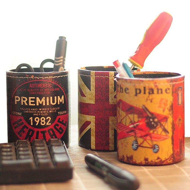 JILIDA Vintage Leather Union Jack Pattern Cylinder Pen Storage Box Round Pencil Brush Pot Holder Office Organizer Desktop Decor