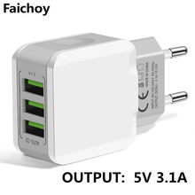 Universele 3 Port Usb Charger Travel Adapter 5V 3.1A Muur Draagbare Eu Plug Charger Mobiele Telefoon Oplader Voor Iphone samsung Xiaomi(China)
