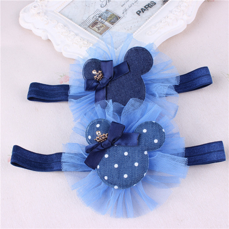1 PC Cute Cartoon Headband BB Mickey Rabbit Headwear Kids Flower Denim Hair Accessories Hair Bands