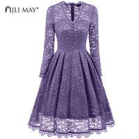 JLI MAY Vintage Long Sleeved Lace Dress Party Women Black V Neck Slim A Line Autumn