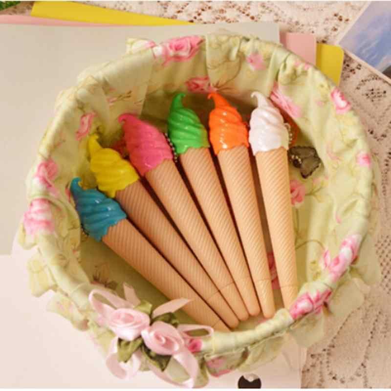Pluma de helado Kawaii Gel pluma Caneta Material Escolar papelería oficina escuela suministros niños regalo al azar Color bolígrafos pincel de pintura
