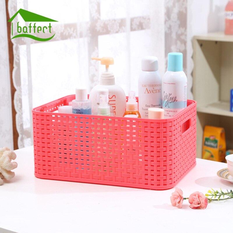 Large Storage Basket Colored Fashion Hollow Plastic Portable Kitchen Bathroom Bath Basket Toiletries Bins Organizer Glove Box