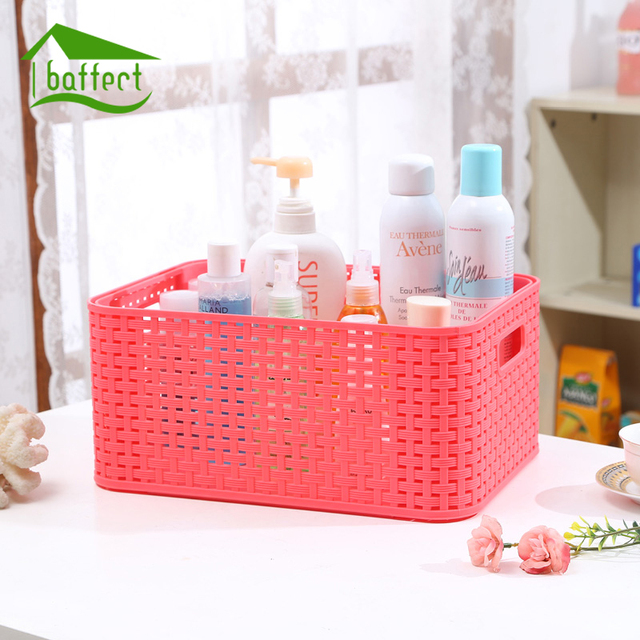 Large Storage Basket Colored Fashion Hollow Plastic Portable Kitchen  Bathroom Bath Basket Toiletries Bins Organizer Glove