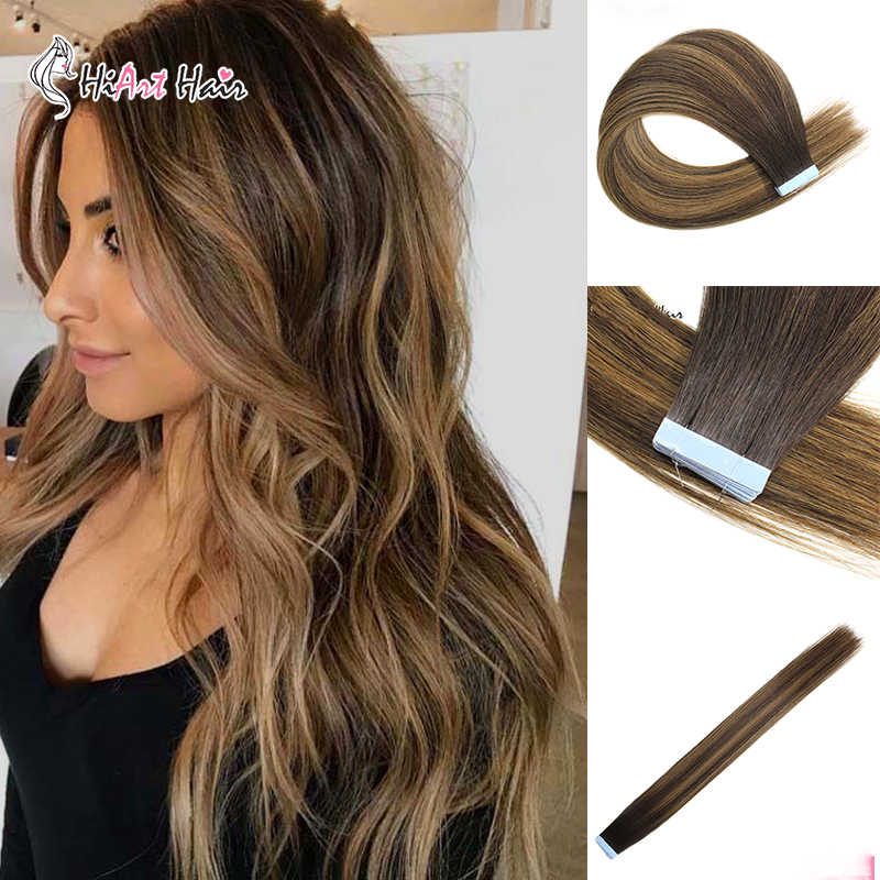 "HiArt 2.5g/PC Tape Hair Extensions Virgin Cuticle Human Remy Hair Salon Double Drawn Tape Hair Balayage  Straight 18""20""22"""