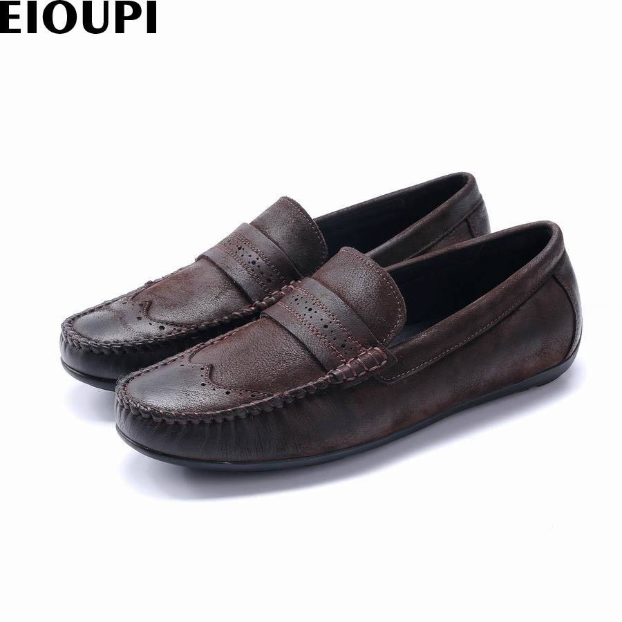 EIOUPI new design genuine real full grain leather buff mens fashion business casual shoe breathable men boat shoes e37662 branded men s penny loafes casual men s full grain leather emboss crocodile boat shoes slip on breathable moccasin driving shoes
