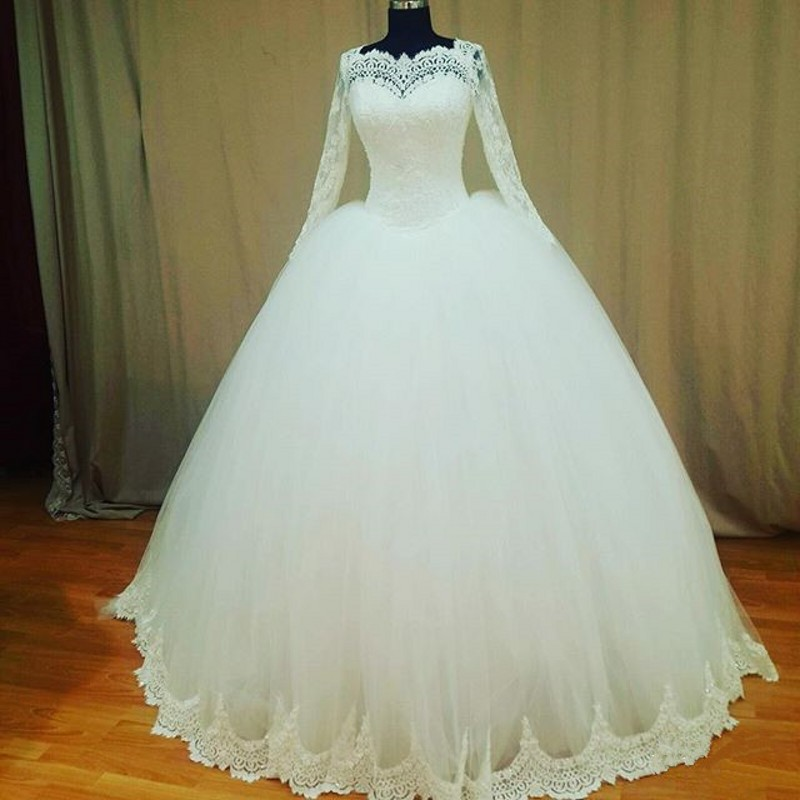 Real pictures ball gowns wedding dresses 2017 vintage long for Long sleeve princess wedding dresses
