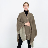 2018 brand women pashmina poncho and capes cashmere knit warm winter scarf solid color oversized blanket lady shawl coat