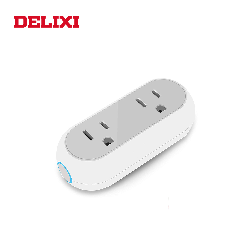 DELIXI US smart socket wifi remote control with wireless timing power on off 2 outlet plug for Amazon alexa google home 10A in Electrical Sockets from Home Improvement