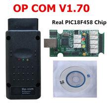 Op quente com para opel v1.70 opcom com com melhor microplaqueta real pic18f458 pcb verde obd2 can bus para opel obd2 ferramenta de diagnóstico profissional