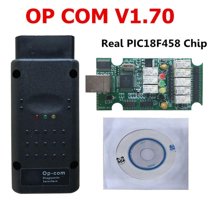 Popular OP COM para opel V1.70 OPCOM con mejor PCB verde Real PIC18F458 chip OBD2 CAN BUS para Opel obd2 herramienta de diagnóstico profesional