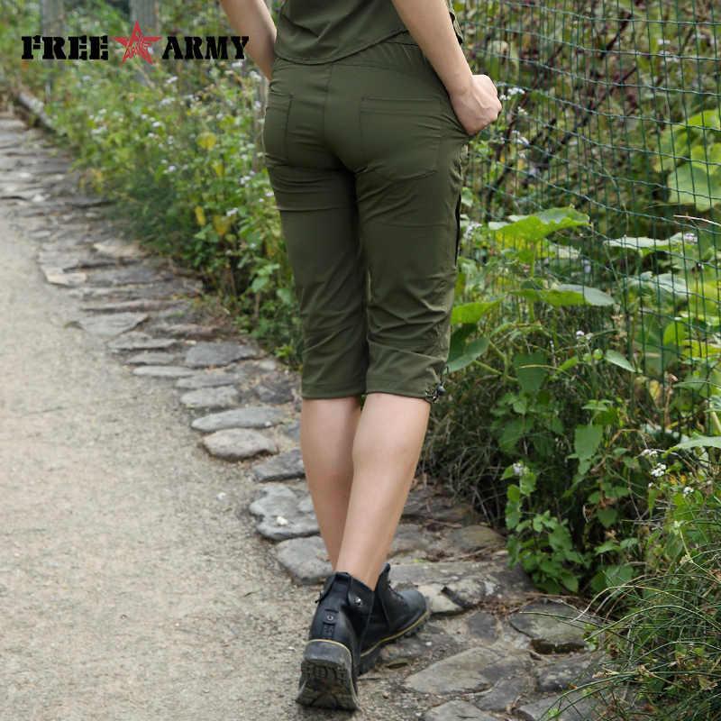 Tático Calça Estilo Militar Do Exército das mulheres Uniformes Roupas 3/4 Comprimento Calças Capris Casuais Calças Femininas Sólidos Verde GK-9530A