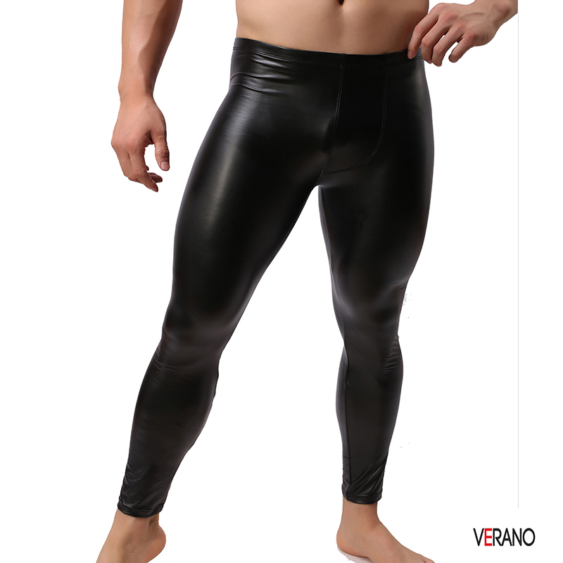 Men's Sexy Stretch Leggings Pants Fashion Faux Fur Fitness Pants Faux Leather Trousers PVC Long Trousers Underwear WholesaleC48