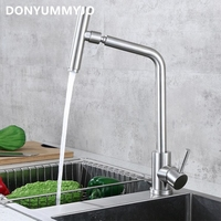 720 Degree Rotation 304 Stainless Steel Body Nickle Hot And Cold Water Kitchen Sink Faucet Curved Outlet Pipe Taps With 2 Hoses