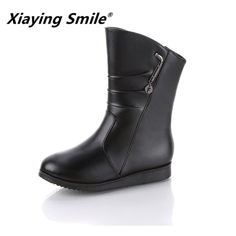 Xiaying Smile Winter Women Shoes New Style Solid Shoes Ladies Fahsion Casual Ankle Boots Metal Decoration