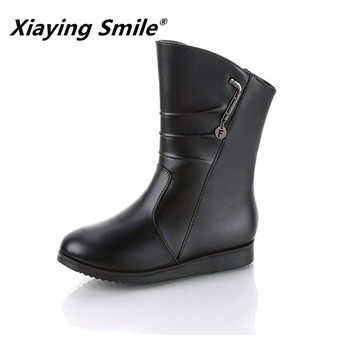 Xiaying Smile Winter Women Shoes New Style Solid Shoes Ladies Fahsion Casual Ankle Boots Metal Decoration Fleeces Women Shoes
