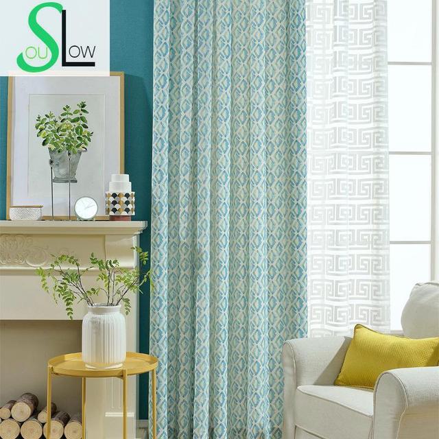 Trage Soul Blauw Moderne Katoen Polyester Afdrukken Jacquard ...