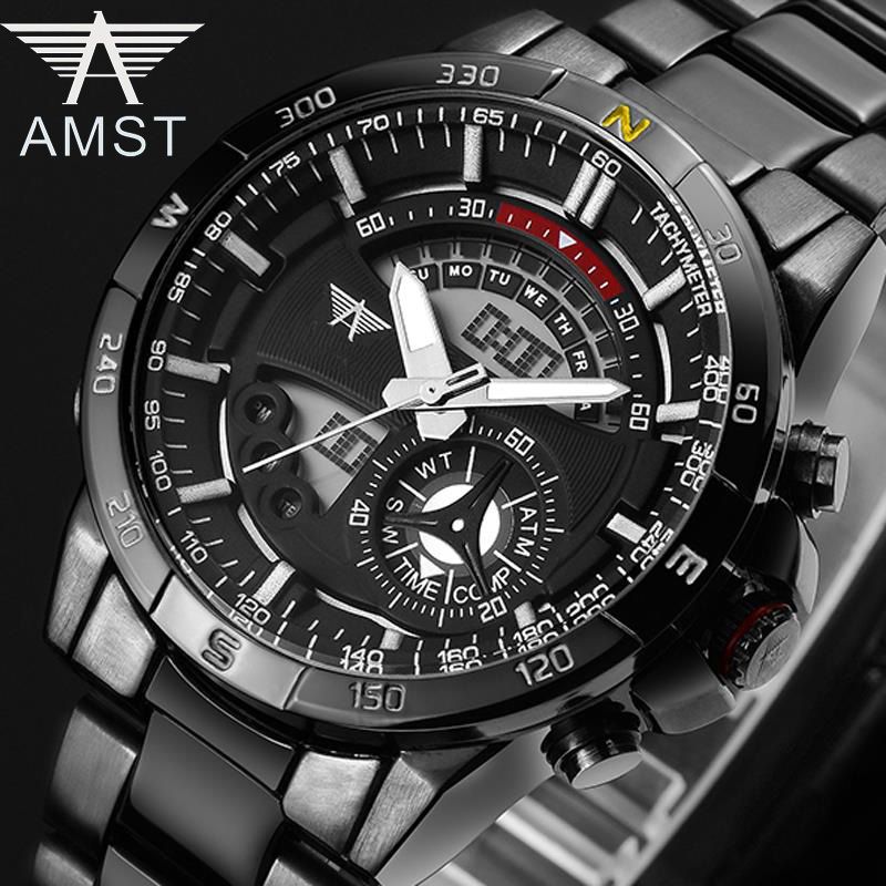 AMST Brand Quartz Watch for men led dual display time zones date sports watches stainless steel waterproof clock 3009