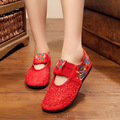 Women embroidery shoes mesh Lace flowers red bride shoes casual stretch embroidered cloth shoes soft  soled Single shoes