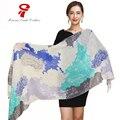 Bufanda de invierno de la marca de lujo bufandas Del Mantón de Seda suave de las mujeres de Gran Tamaño Abrigo de Primavera Autum mujeres chal Imprimir encubrimiento de La Playa arriba