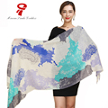 scarf  winter luxury brand soft Silk Shawl scarves for women Oversize Wrap Spring Autum female shawl Printed Beach Cover-up