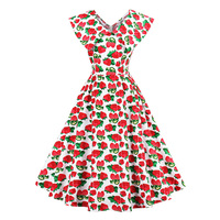 Sisjuly Women S Vintage Dress Summer A Line Red Strawberry 50s 60s Style Print Sleeveless V