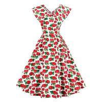 Sisjuly Women S Vintage Dress Summer A Line Red Strawberry 50s 60s Style Print Sleeveless V