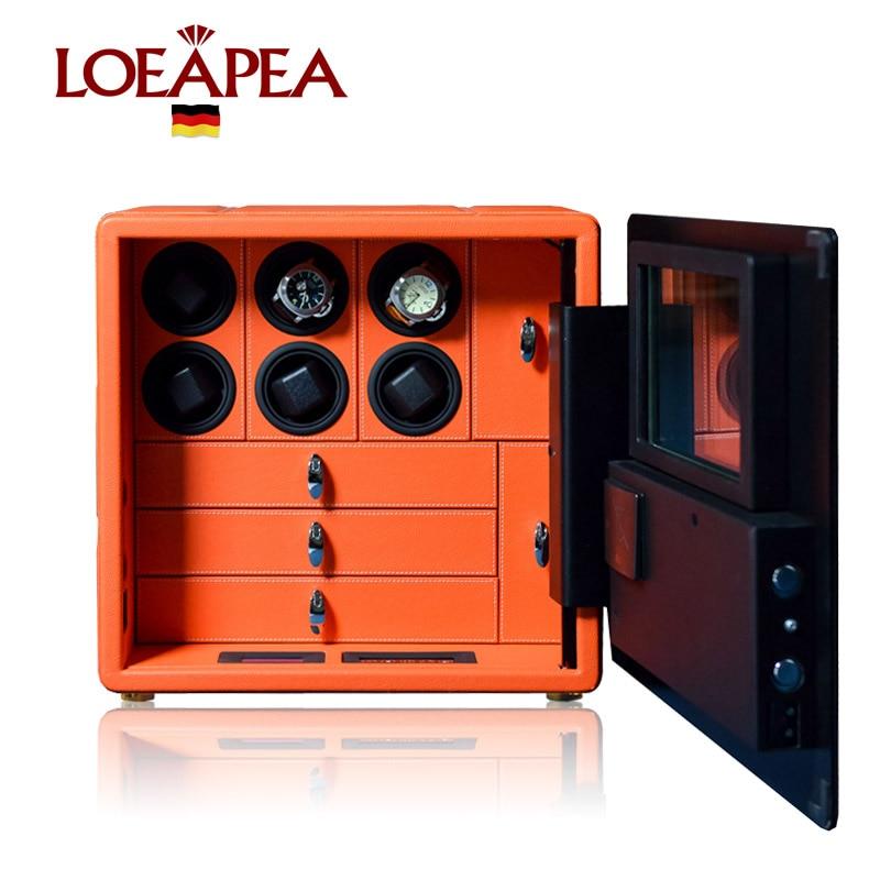 EXCELENTE Relógio seguro gabinete Caixa de relógio enrolador Automático para 6 pcs Relógios caso com controle de LCD Inteligente sistema de alarme de Segurança