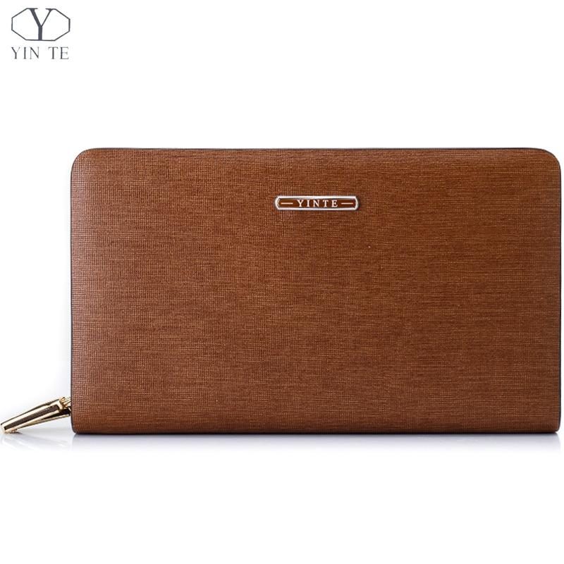 YINTE Men's Clutch Wallets Business Clutch Wrist Bag Brown Handbag Zipper Wallet Cash Card Case Organizer Three Size T8053-4
