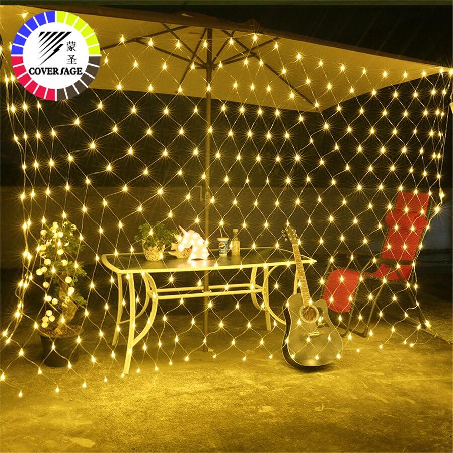 Coversage 2X3 m De Noël Guirlandes Guirlande LED 300 LED Lumières De Noël Net Fée De Noël Jardin Décoration De Mariage Rideau lumières