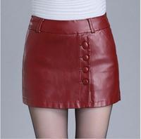 Winter Female sexy leather Shorts Skirts 2018 Fashion High Waist leather Shorts women Autumn leather Shorts skirt plus size