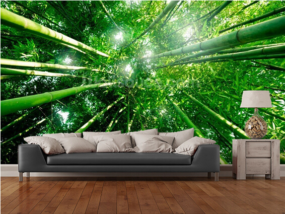Custom photo wallpaper bamboo forest 3d wallpaper mural for Bamboo forest wall mural