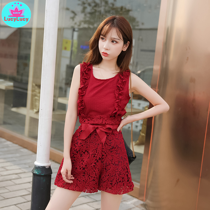 2019 new lace high waist flower wide leg pants suit vest foreign shorts net red two piece in Women 39 s Sets from Women 39 s Clothing