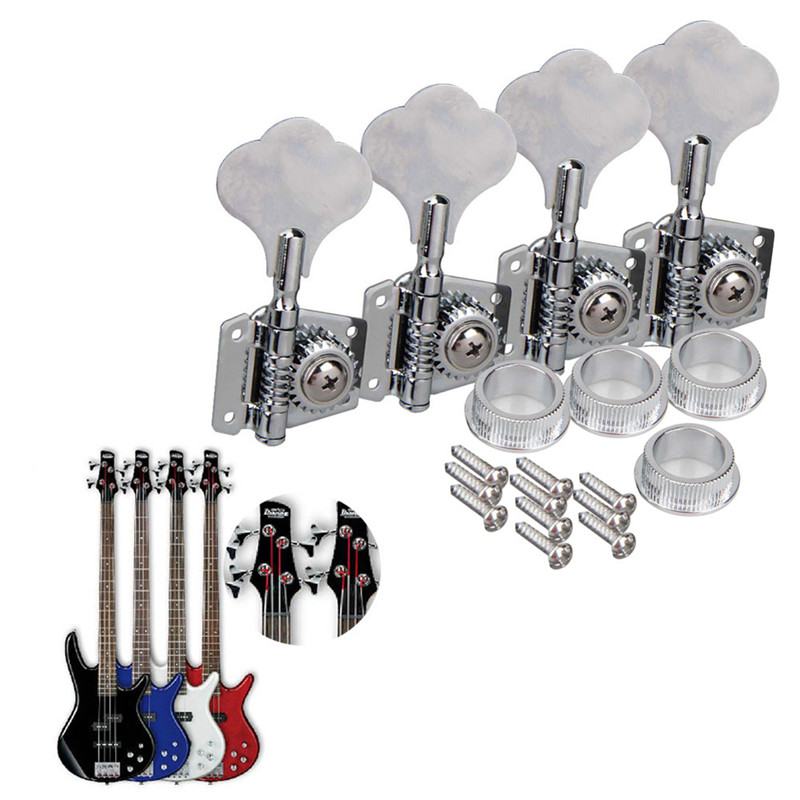 4pcs Bass Machine Heads Tuning Pegs Club Button Silver Set Musical Stringed Instruments Guitar Parts & Accessories New wooden music child toy musical instrument set 11 piece per set toy musical instruments set