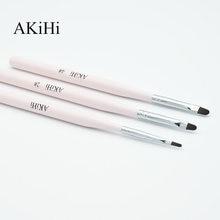 Akihi caneta de esmalte em gel uv, design de unha, pincel de desenho em unha, ferramenta de cabeça redonda rosa, com tampa de metal