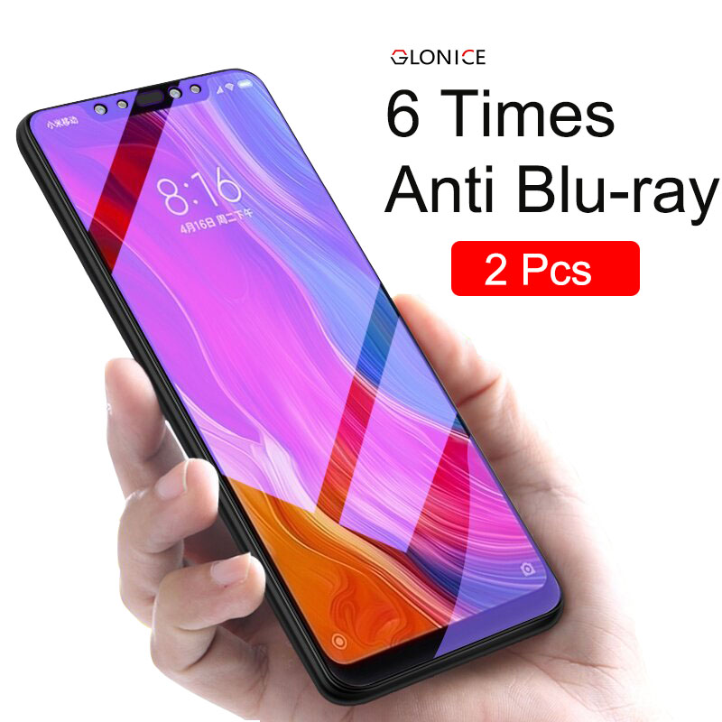 Glonice 2Pcs 9H Full Tempered Glass For Xiaomi 8 Se Redmi 6 6A Pro Note 5 5A Screen Protector Anti Blu-ray film
