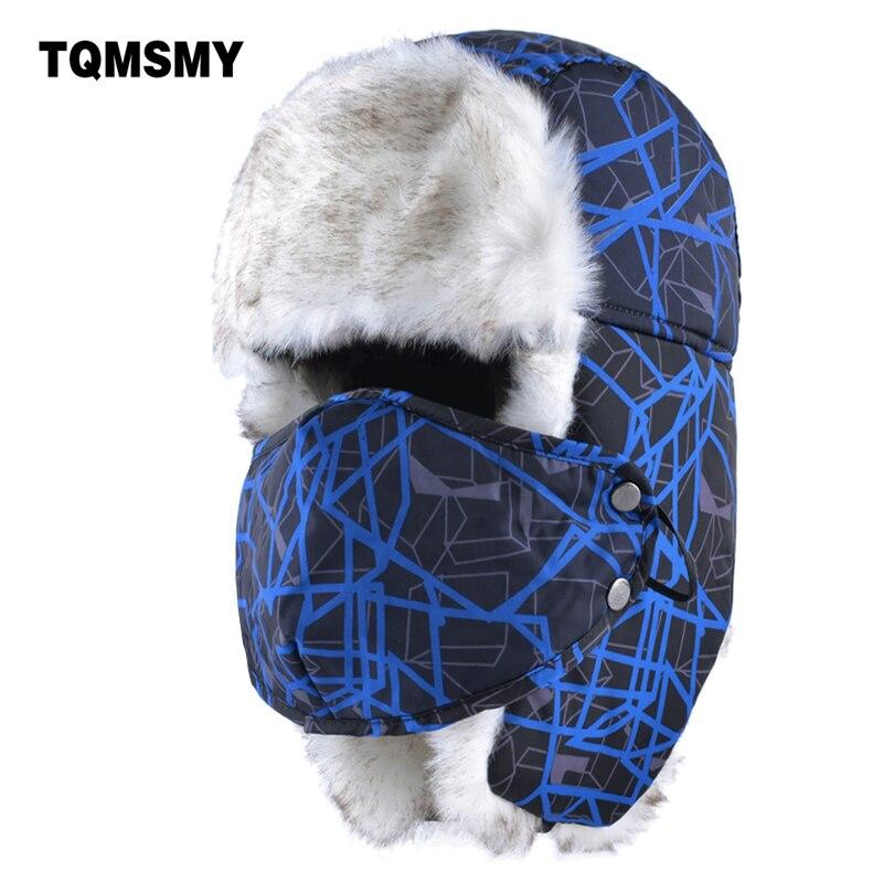 TQMSMY Unisex Russian bomber hat women winter hats for men mask cap adults tricycle ear flaps bone casual warm ushanka snow caps