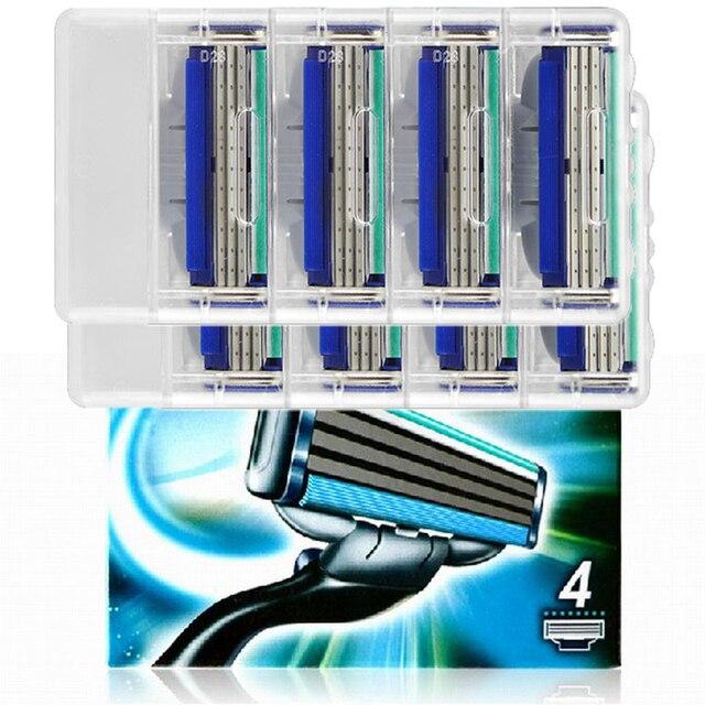 Turbo! 8 pçs/lote lâminas Marca 3 Camadas Navalha Sharpener Da Lâmina do cortador de lâmina de barbear Lâminas de barbear para homens barbear Cassete