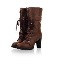 2016 New Botas Mujer Boots Big Size 34 43 Shoes Woman Fashion Martin Outono Inverno Botas
