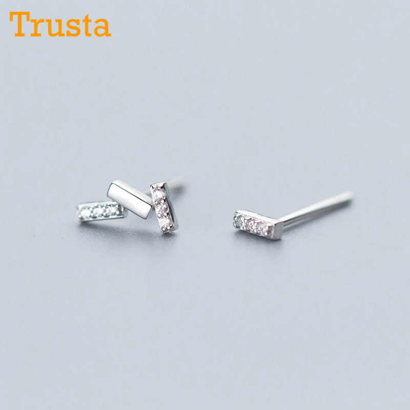 Trusta 2018 100% 925 Real Sterling Silver Jewelry Fashion Cute Tiny Asymmetric CZ Stud Earrings Gift For Girls Kids Lady DS519