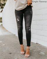Moto Biker Jeans Women Locomotive Gray Black High Street Skinny Denim Pants Distressed Vintage Slim Ripped Pleated Kot Pantolon